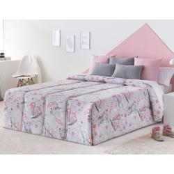 Edredón rosa y gris para cama de chica FASHION con relleno 200 gramos