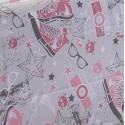detalle estampado FASHION color rosa y gris