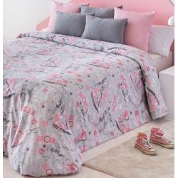 Funda nórdica de chica FASHION botas converse color rosa y gris