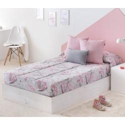 Edredón ajustable cama de chica 90 o 105 FASHION en color rosa y gris