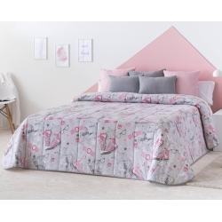 Colcha boutí rosa y gris para chica FASHION cama 150, 135, 105 o 90 cm