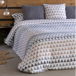 Nórdico en algodón de punto BLANES estampado triángulos beige y gris