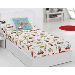 Edredón ajustable para cama nido TRAFFIC dibujo de coches y motos