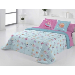 Edredon conforter infantil cama 90 a 180 PLANET color azul turquesa