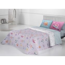Colcha bouti infantil niña PLANET color malva para cama pequeña o grande