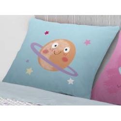 Cojín decorativo de 50x50 cm para cama infantil PLANET color azul