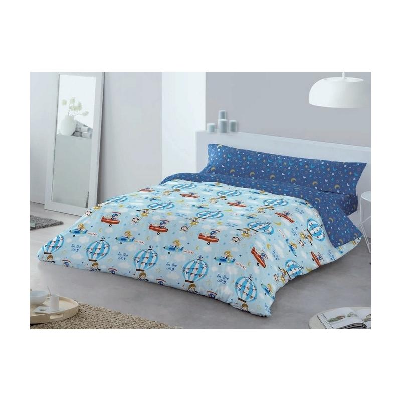 Funda nórdica azul reversible cama de niños HOLIDAY avionetas y globos