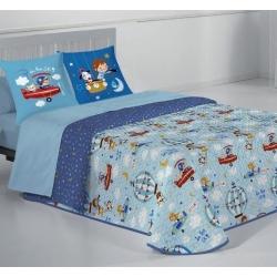 Colcha boutí reversible infantil de 90 a 180 cm HOLIDAY estampado azul