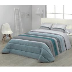 Edredón 2 plazas o cama 90, 105 cm SILVER rayas azules y grises