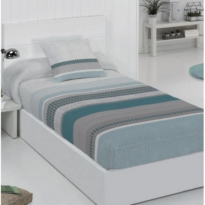Edredón ajustable azul y gris SILVER para cama 180 a 80 cm