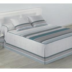 Colcha edredón cama matrimonio o individual SILVER rayas gris y azul