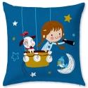 Funda azul para cojín de cama con relleno HOLIDAY 2 niña en globo