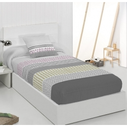 Edredón ajustable de rayas gris MIRNA para camas juveniles