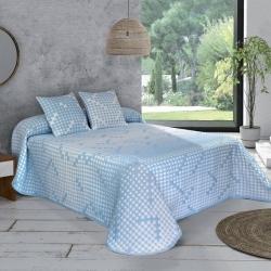 Colcha de verano cama 90 a 180 AMANDA textura azul