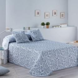 Colcha de verano azul con flores FIORE cama grande o pequeña
