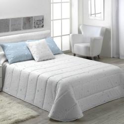 Edredón blanco para cama juvenil KALO estrellas color azul, rosa, gris o beige