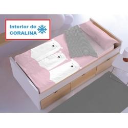 Saco de invierno para cama con coralina OSO en color rosa