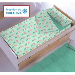 Saco nórdico coralina Denisa Home SIRENITAS para cama infantil