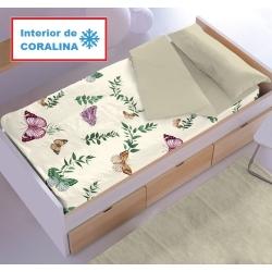 Saco nórdico interior de coralina MARIPOSAS color beige, rosa o turquesa
