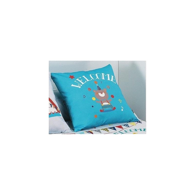 Cojin en color azul CIRCUS con oso malabarista