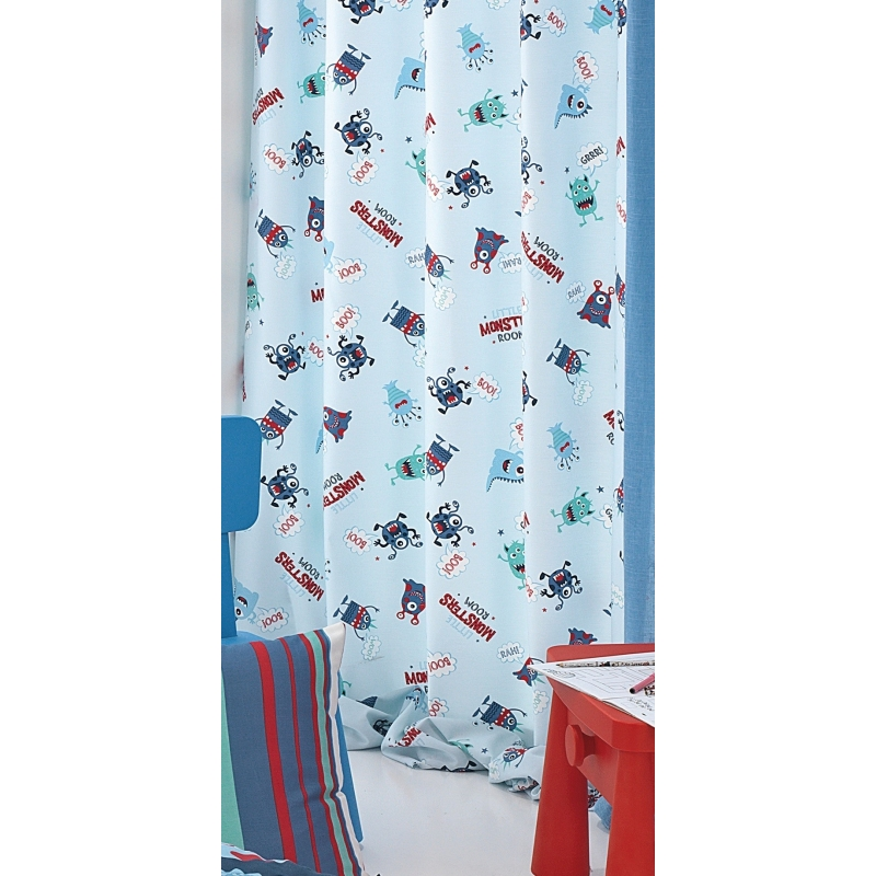Cortinas para cuarto infantil Monsters con dibujo de monstruos
