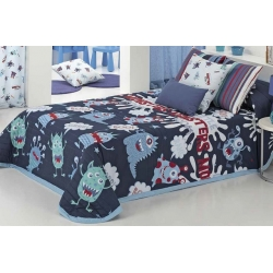 Colchas infantiles serie MONSTERS color azul para cama de 80, 90 o 105