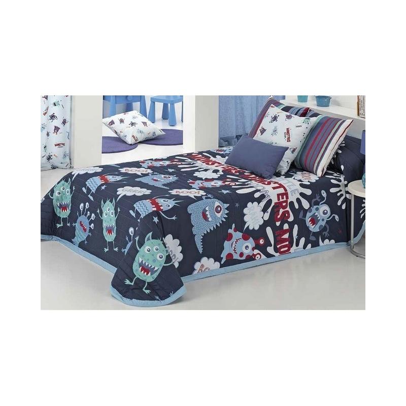 Colchas infantiles serie MONSTERS color azul para cama de 80, 90 o 105