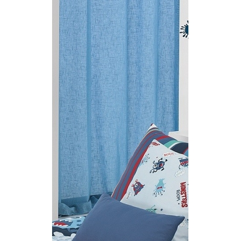 Cortina visillo para habitación infantil MONSTERS color azul liso