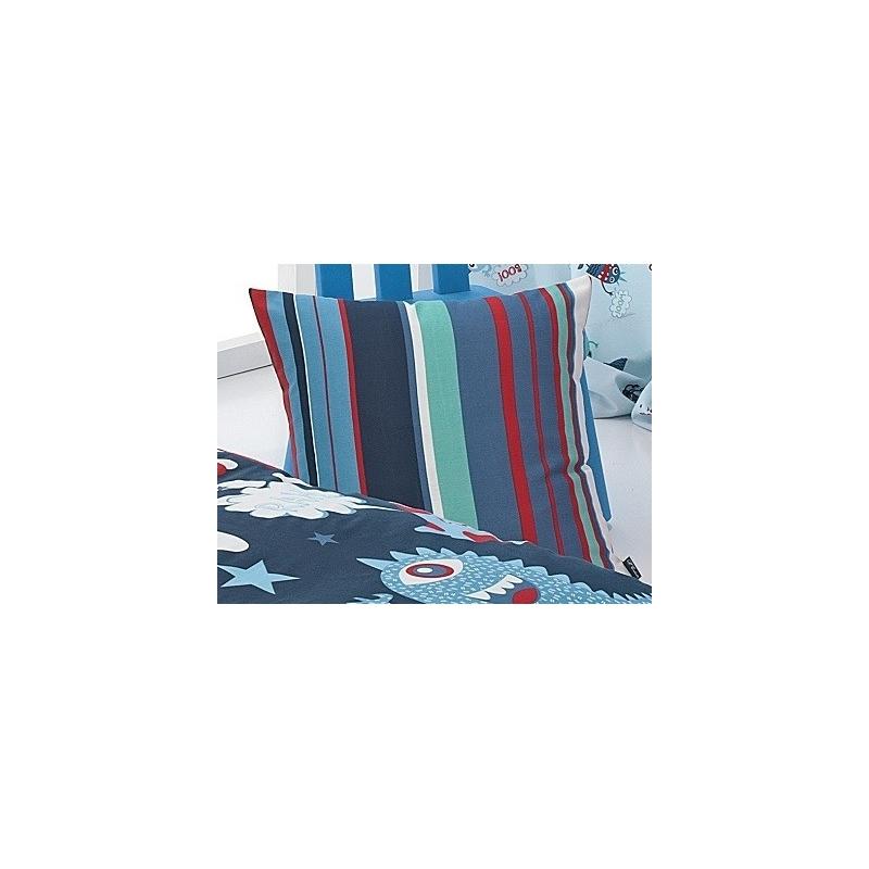 Almohada cuadrada o rectangular serie MONSTERS con rayas azules y rojas